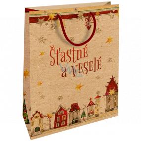 Nekupto Darčeková Kraftová taška 28 x 37 cm Vianočný Šťastné a Veselé 605 WKHL