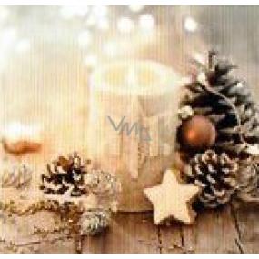 Nekupto Vianočné kartičky na darčeky Sviečka, šišky 6,5 x 6,5 cm 6 kusov