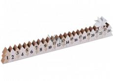 Adventný kalendár drevený biely so striebornou hviezdou 78 x 395 mm
