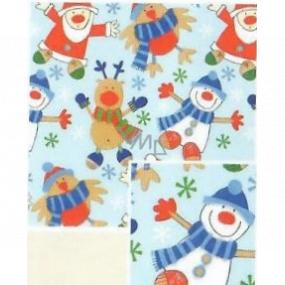 Nekupto Darčekový baliaci papier 70 x 200 cm Vianočný Svetlo modrý snehuliak, Santa, sob