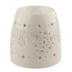 Aromalampa porcelánová bílá s vločkami 11 cm