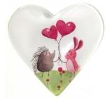 Nekupto Magnet Srdce bílé, ježek růžové balonky 4 cm