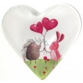 Nekupto Magnet Srdce biele, ježko ružové balóniky 4 cm