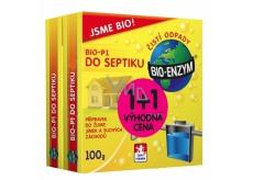 Bio-Enzým Bio-P1 biologický prípravok k likvidácii organických nečistôt do septiku, žumpy, suchého záchodu 2 x 100 g, duopack