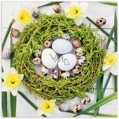 PAP.UBR.velikon.3vr.20ks zelený venček narcisy tulipány 0505