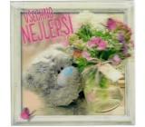 Me to You Blahopřání do obálky 3D Medvěd s pugétem květin 15,5 x 15,5 cm