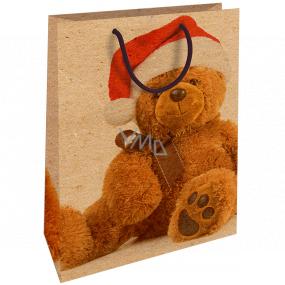 Nekupto Darčeková Kraftová taška 28 x 37 cm Vianočný s plyšovým medveďom 600 WKHL