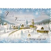 Nekupto Pohľadnica Veselé vianoce zúbky modrá, chalúpky a kostol
