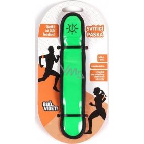 Albi Buď vidět! Reflexní stahovací svítící a blikací pásek zelený, svítí až 55 hodin