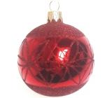 Irisa Banky sklenené červené lesk, zdobené, sada 7 cm 12 kusov