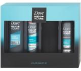 Dove Men + Care Clean Comfort sprchový gél pre mužov 250 ml + sprchová pena 200 ml + antiperspirant sprej pre mužov 150 ml + fľaša na vodu, kozmetická sada