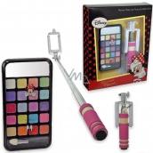 Disney Minnie Make Up Phone & Selfie Stick make-up paletka s krémovými tiene na oči, lesky na pery, a zrkadlom 2 g + ružová selfie tyč pre deti, kozmetická sada