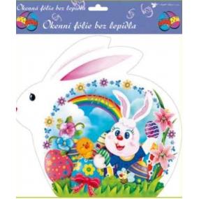 Room Decor Okenné fólie bez lepidla veľkonočný biely zajac, zajac s dúhou 30 x 29 cm