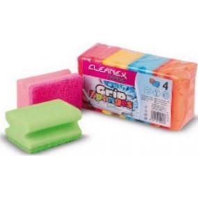 Cleanex Grip Sponges Ultra tvarovaná houba na nádobí 9 x 7 x 4,5 cm 4 kusy