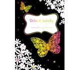 Ditipo Relax do kabelky Motýle a kvety kreatívne zápisník 16 listov, formát A6 15 x 10,5 cm