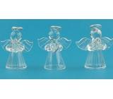 Anjeli zo skla so striebornou svätožiarou sada 5 cm 3 kusy