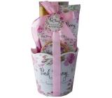 Salsa Collection Ružová pivonka sprchový gél 260 ml + telové mlieko 200 ml + telový peeling 50 ml + soľ do kúpeľa 100 g, kozmetická sada okrúhly kvetináč