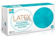 Asap Rukavice Latex jednorázové pudrované latexové velikost M box 100 kusů