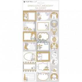 Menovky na darčeky samolepiace s glitrami bielo-šedé 18 x 40 cm 23 kusov