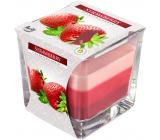 BISPOL Strawberry - Jahoda trojfarebná vonná sviečka sklo, doba horenia 32 hodín 170 g