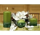 Lima Třpyt hvězdy svíčka zelená válec 70 x 80 mm 1 kus