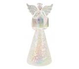 Anjel sklenený na sviečku biely 19 cm