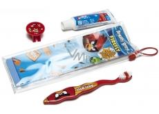 Angry Birds měkký zubní kartáček s krytkou + zubní pasta 24 g + pouzdro, pro děti cestovní sada
