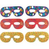 Okuliarové škrabošky farebná potlač 6 kusov