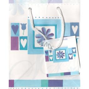 Nekupto Darčeková papierová taška 14 x 11 x 6,5 cm Modrobiela, 087 KAS