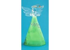 Anjel sklenený s farebnou sukňou zelená 10 cm