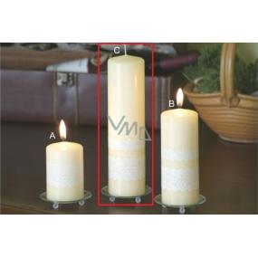 Lima Čipka sviečka creme valec 60 x 220 mm 1 kus