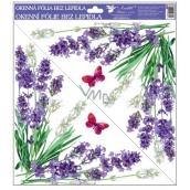 Okenné fólie bez lepidla Levanduľa kvety v rohu 30 x 30 cm