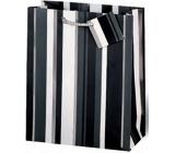 BSB Dárková papírová taška velká 36 x 26 x 14 cm Černo-bílé pruhy LDT 253-A4