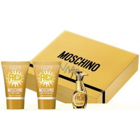 Moschino Fresh Gold parfumovaná voda 5 ml + telové mlieko 25 ml + sprchový gél 25 ml, darčeková sada