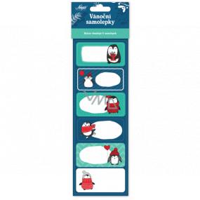 Nekupto Vianočné samolepiace menovky na darčeky Tučniak 6 kusov