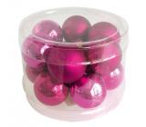 Banky sklenené tmavo ružová sada 2 cm, 12 kusov