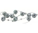 Řetěz zrcátkové kuličky 2,5 cm a perličky 180 cm