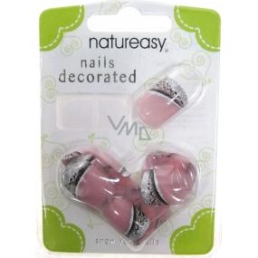 Diva & Nice Natureasy Nails Decorated nalepovacie nechty ružové s čierno-striebornú aplikácií 24 kusov