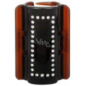 Linziclip Maxi Vlasový skřipec hnědý s krystalky 8 cm vhodný pro hustší vlasy 1 kus