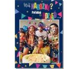 Albi Hracie prianie do obálky K narodeninám Fúka konfety Happy 14,8 x 21 cm