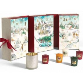 Yankee Candle Adventný kalendár Kniha čajová sviečka 12 kusov + Votiv sviečka 12 kusov + svietnik, Vianočná darčeková sada