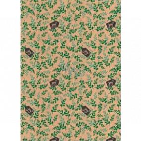 Ditipo Darčekový baliaci papier 70 x 200 cm Vianočný KRAFT zelené haluzky