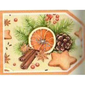 Nekupto Vianočné kartičky na darčeky Pomaranč, škorica, perníčky, šiška 5,5 x 7,5 cm 6 kusov