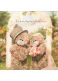 Me to You Blahoželania do obálky 3D K svadbe Svadobné medvedíky pri bráne 15,5 x 15,5 cm