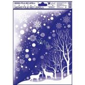 Room Decor Okenní fólie bez lepidla Rohová s glitrem zimní krajina se zvířátky 42 x 30 cm