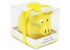 Albi Pokladnička prasátko malé Ať se máš jako prase v žitě žlutá 7 cm × 6,5 cm × 7,3 cm