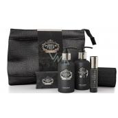 Castelbel Black Edition sprchový gél 100 ml + toaletnú vodu 10 ml + telové mlieko 100 ml + toaletné mydlo 40 g + uteráčik 30 x 32 cm + uzatvárateľný obal cestovná sada pre mužov