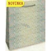 Nekupto Darčeková papierová taška veľká 32 x 26 x 13 cm Strieborná hologramová 123 02 THL