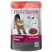 Nutrilove Dusené filetky so šťavnatým hovädzím v omáčke kompletné krmivo pre mačky kapsička 85 g