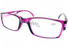 Berkeley Čítacie dioptrické okuliare +2 plast fialové priehľadné 1 kus MC2206